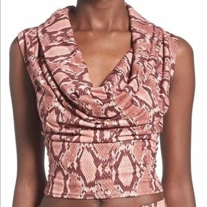 Missguided NEW sz 10 Cowl Neck Snakeskin top $46